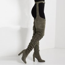 Fashion women's shoes chunky heels sexy pointed toe ladies boots thigh high boots pleated personality pants boots