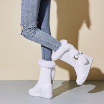 Winter 2019 fashion hot style women's shoes add wool upset buckle elegan women's boots socket  half boots black  white