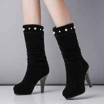 Fashion   black suede  women's shoes in winter 2019 round toe elegant ladies boots concise mature office lady pure color