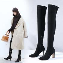 Fashion pure color women's shoes in winter 2019 pointed toe zipper stilettos heels over the knee high boots sexy elegant ladies boots concise mature office lady