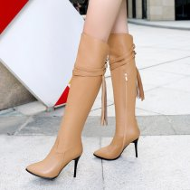 Fashion buckle fringed women's shoes in winter 2019 pointed toe stilettos heels women's boots concise over the knee high boots