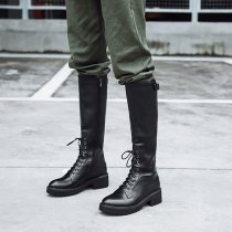 2019 winter autumn flat genuine leather knee high boots buckle cross lacing zwarm velvet lining ipper round toe fashion women's boots ladies 34 43