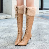 Fashion novelty women's shoes in winter 2019 pointed toe cross lacing women's boots knee high boots personality khaki leather