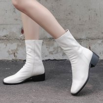 Fashion women's shoes in winter 2019 zipper pointed toe sexy elegant ladies boots concise mature black short boots milk white
