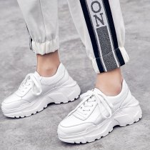 Spring and autumn 2019 fashion women's shoes cross lacing pure color concise white beige comfortable classics shallow leisure