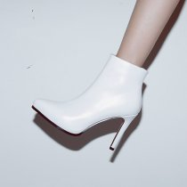 Fashion women's shoes in winter 2019 stilettos heels pointed toe women's boots white short boots leather office lady