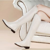 Fashion women's shoes in winter 2019 pointed toe zipper women's boots small size knee high boots personality leather off-white
