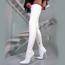 Arden Furtado fashion women's shoes 2019 online celebrity zipper pure color white booties over the knee thigh high boots stilettos heels