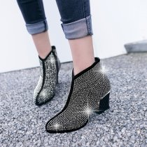 Arden Furtado fashion women's shoes in winter 2019 chunky heels zipper customizable size short boots round toe office lady big size 42 crystal rhinestone