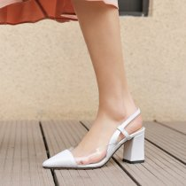 Arden Furtado summer 2019 fashion trend women's shoes pointed toe chunky heels slip-on PVC white sandals ladylike temperament