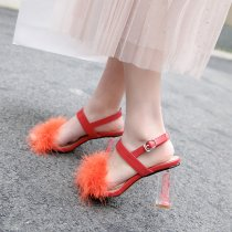 Arden Furtado summer Fashion women's shoes chunky heels buckle strap orange feather sandals crystal heels