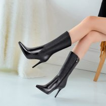 Arden Furtado fashion women's shoes in winter 2019 pointed toe stilettos heels zipper office lady concise leather half boots