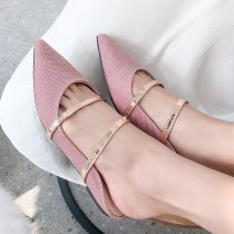 Arden Furtado summer 2019 fashion women's shoes pink pointed toe gingham flat mules slippers