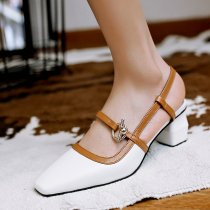 Arden Furtado summer 2019 fashion trend women's shoes chunky heels buckle sandals apricot personality office lady mature concise big size 42