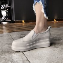 Arden Furtado spring 2019 fashion women's shoes round toe platform wedge loafers white genuine leather casual leisure shoes 40