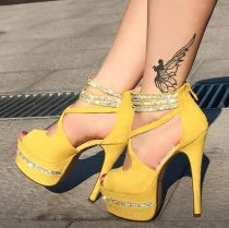 Arden Furtado summer 2019 fashion women's shoes stilettos heels yellow waterproof peep toe crystal rhinestone platform party shoes