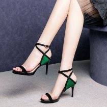 Arden Furtado summer 2019 fashion trend women's shoes  khaki green buckle sandals concise stilettos heels office lady elegant party shoes