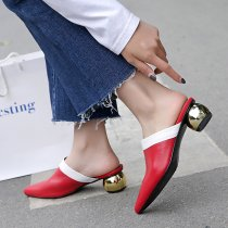 Arden Furtado summer 2019 fashion trend women's shoes pointed toe elegant strange style heels white slippers mules big size 40