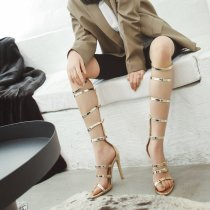 spring summer boots stilettos sexy high heels fashion gladiator cover heels buckle sandals women's shoes ladies big size 46