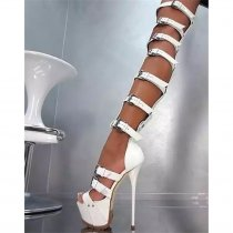 Arden Furtado summer 2019 fashion women's shoes waterproof stilettos heels buckle sandals sexy party shoes narrow band gladiator white sandals