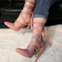 Arden Furtado summer 2019 fashion trend women's shoes pointed toe stilettos heels pink concise office lady party shoes  big size pure color lace up sandals