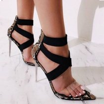 Summer fashion Stilettos heels snakeskin sandals Elegant party shoes Big size 42 pvc heels