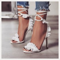 summer 2019 fashion women's shoes stilettos heels mature ankle strap pure color white office lady sandals