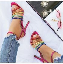 summer 2019 fashion trend women's shoes concise leather sandals buckle narrow band mixed colors stilettos heels