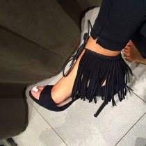 summer 2019 fashion trend women's shoes stilettos heels sexy fringed black ankle strap elegant sandals big size 45