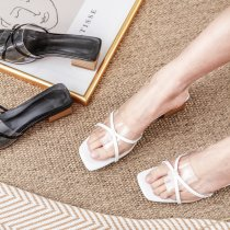 Arden Furtado summer 2019 fashion trend women's shoes PVC  foot set slippers concise mature white apricot  elegant