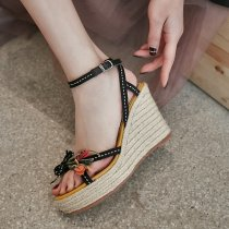 Arden Furtado summer 2019 fashion women's shoes genuine leather flower wedges waterproof sandals ethnic classics narrow band