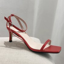 Arden Furtado summer 2019 fashion trend women's shoes square head pure color red sexy sandals narrow band buckle stilettos heels