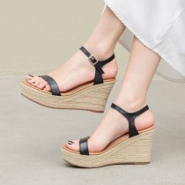 Arden Furtado summer 2019 fashion trend women's shoes pure color apricot sandals office lady buckle wedges waterproof concise