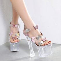 Arden Furtado summer 2019 fashion trend women's shoes sexy elegant pure color sandals waterproof transparent party shoes buckle