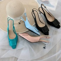 Arden Furtado Summer Fashion Trend Women's Shoes Sexy Elegant Buckle Pure Color  blue pink Classics Chunky Heels Concise