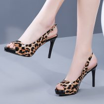 Arden Furtado Summer Fashion Women's Shoes Party Shoes Leopard Print Leather Sexy Elegant Sandals Peep Toe  Stilettos Heels