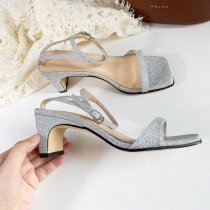 Arden Furtado Summer Fashion Trend Women's Shoes Elegant Office Lady White Silver rainbow Chunky Heels Buckle
