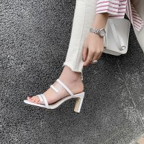 Arden Furtado Summer Fashion Trend Women's Shoes Concise Transparent Classics Square Pure Color Head  Narrow Band Chunky Heels