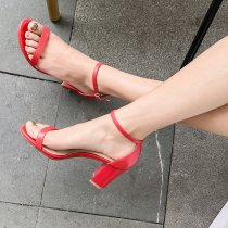 Arden Furtado Summer Fashion Trend Women's Shoes Buckle Classics Chunky Heels  Sexy Elegant Pure Color Red Sandals Narrow Band