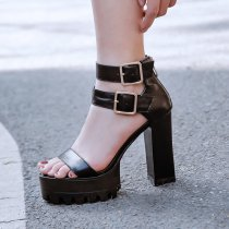 Arden Furtado Summer Fashion Women's Shoes Chunky Heels Buckle strap Sexy Elegant Leather platform Sandals size 32 33