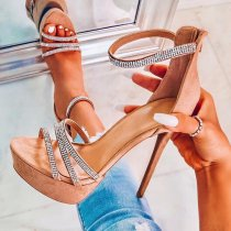 Arden Furtado summer fashion women's shoes open toe stilettos heels sexy elegant crystal rhinestone party shoes cover heels