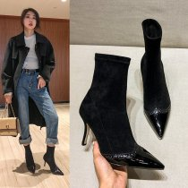 Arden Furtado Fashion Women's Shoes Winter  Pointed Toe Stilettos Heels Mature Sexy Elegant Ladies Boots Short Boots Office lady