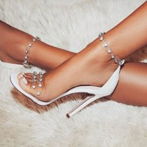 Arden Furtado Summer Fashion Trend Women's Shoes Stilettos Heels Sexy Elegant pure color white  Crystal Rhinestone Sandals