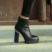 Winter black waterproof zipper rivets chunky heels lady platform ankle boots Martin boots size 33 40 41