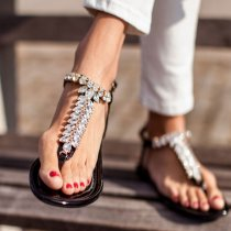 Arden Furtado summer fashion women's shoes flat crystal rhinestone sandals big size 43