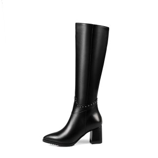 Arden Furtado 2017 winter genuine leather high heels 6cm fashion zipper rivets knee high boots shoes for woman customize shaft