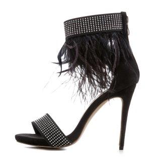 276860337706b Arden Furtado 2018 summer fashion sandals feathers back zipper summer high  heels stilettos ankle strap shoes