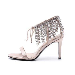33a339946e9d2 Arden Furtado 2018 summer high heels stilettos crystal rhinestone fashion  sandals 9cm fringe woman shoes for