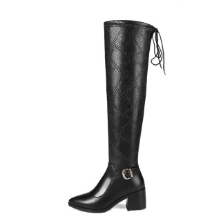 2018 Stretch boots genuine leather chunky heels over the knee thigh high boots big size small size 31 32