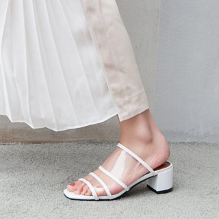 2018 summer chunky heels 4cm clear pvc white slippers women's shoes brown white slides